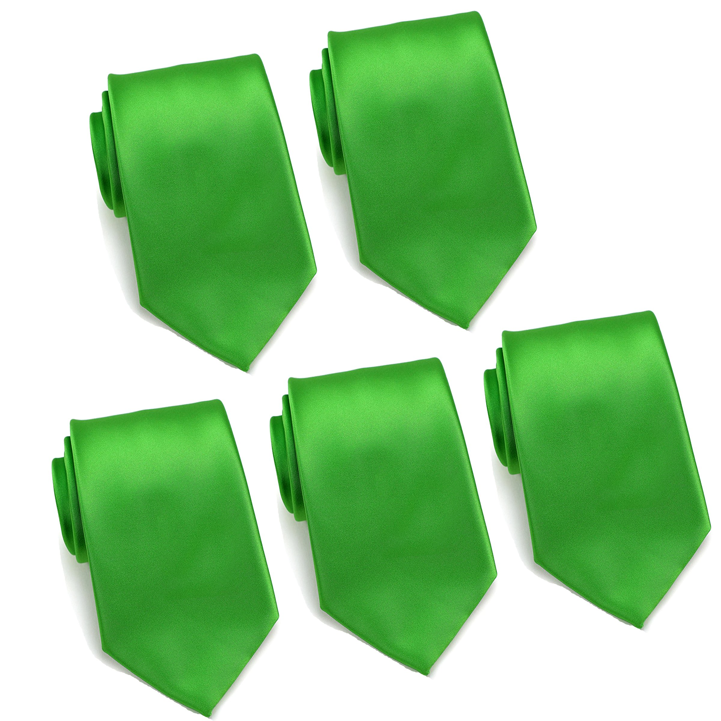 Mens Formal Tie Wholesale Lot of 5 Mens Solid Color Wedding Ties 3.5'' Satin Finish (Kelly Green)