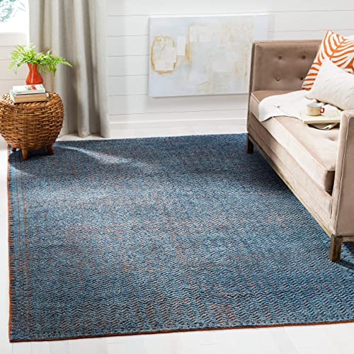 Safavieh Castilla Collection CST157A Hand-Knotted Wool Area Rug, 9 x 12 , Blue Rust
