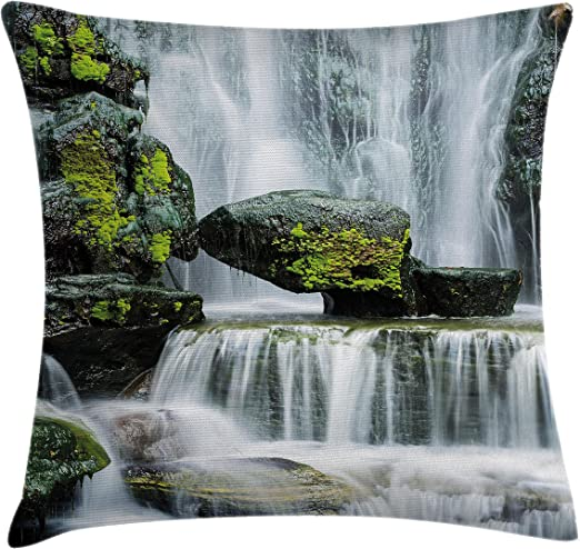 Amazon Com Ambesonne Waterfall Throw Pillow Cushion Cover Majestic Waterfall Blocked With Massive Rocks With Moss On Them Photo Decorative Square Accent Pillow Case 20 X 20 Green Black And White Home