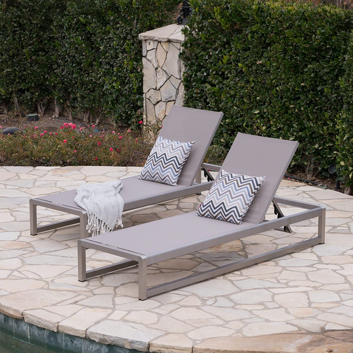 Christopher Knight Home California Outdoor Mesh Chaise Lounge with Aluminum Frame, 2-Pcs Set, Grey / Silver