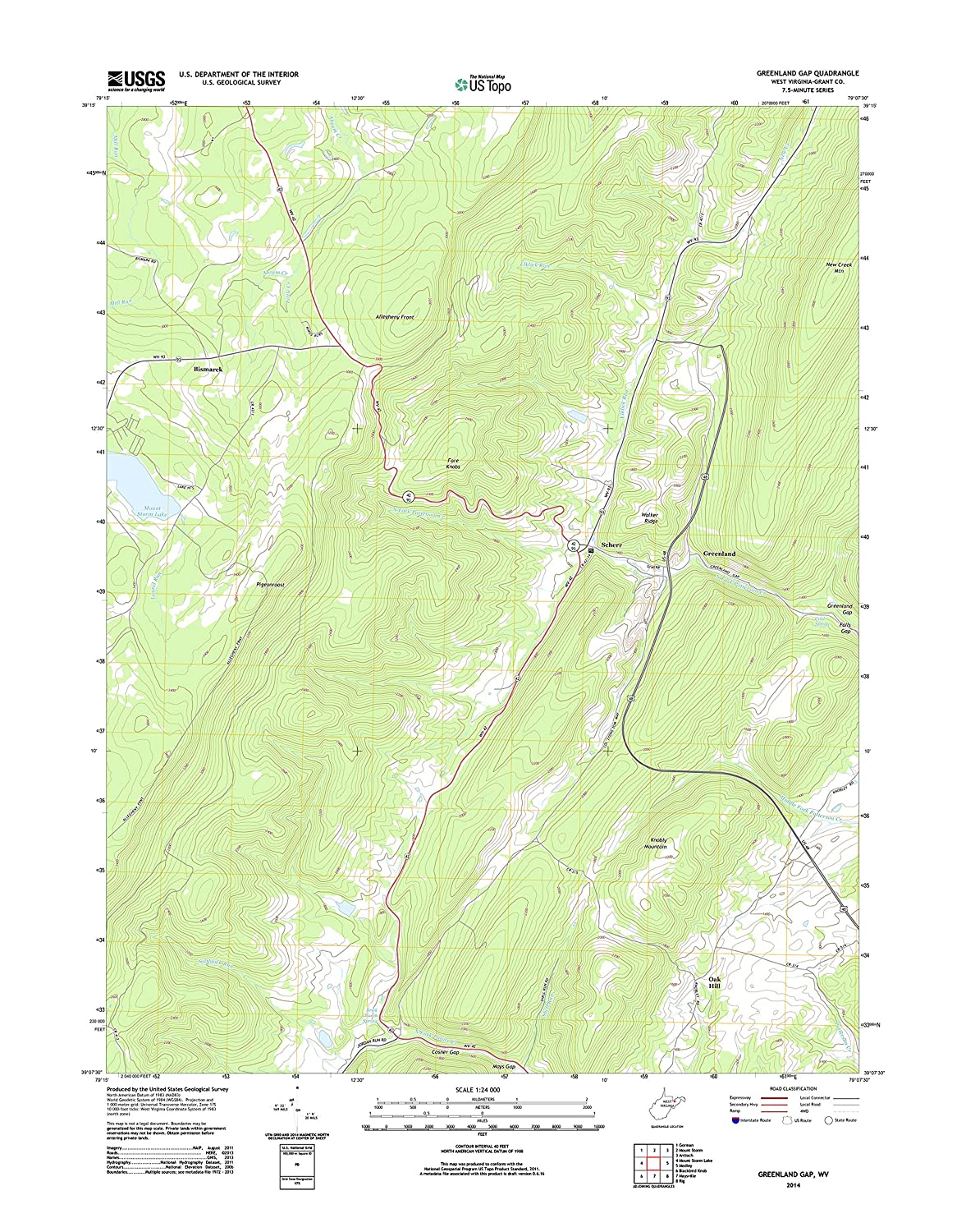 Amazon.com: Topographic Map Poster - Greenland Gap, WV TNM ...