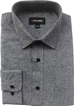 Private Member Camisa de franela de algodón de manga larga para hombre, colores lisos, M a 6XL