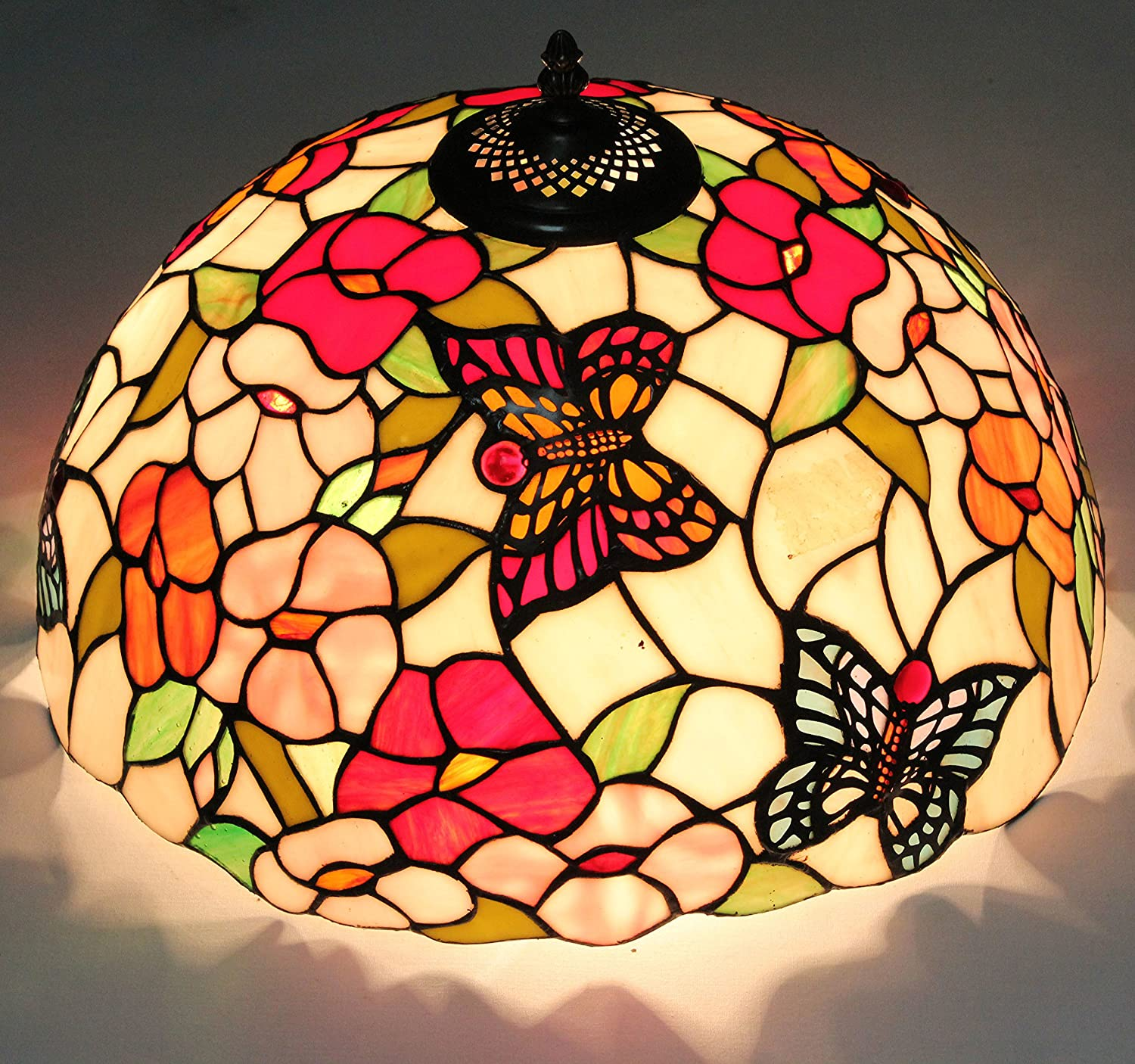 ETERN 16-Inch European Retro Style Flower And Butterfly Stained Glass Flush Mount Ceiling Light Dining Room Light
