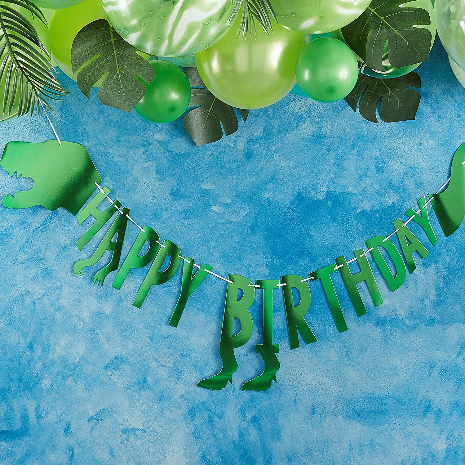 Ginger Ray Green Dinosaur Happy Birthday Boys Kids Party Bunting 2 Meters Roarsome