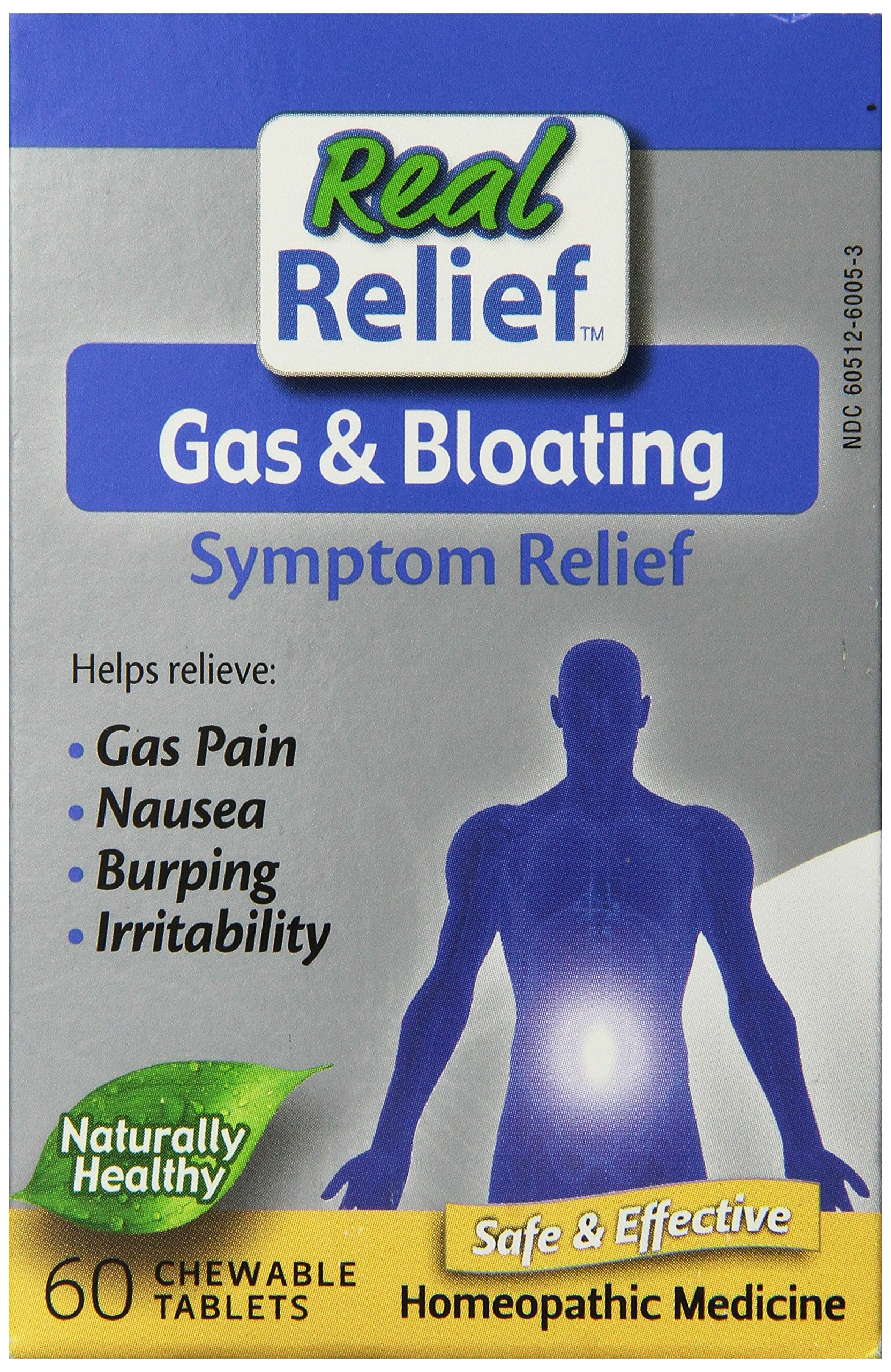 Real Relief Homeolab Gas and Bloating Tablets, 60 Count