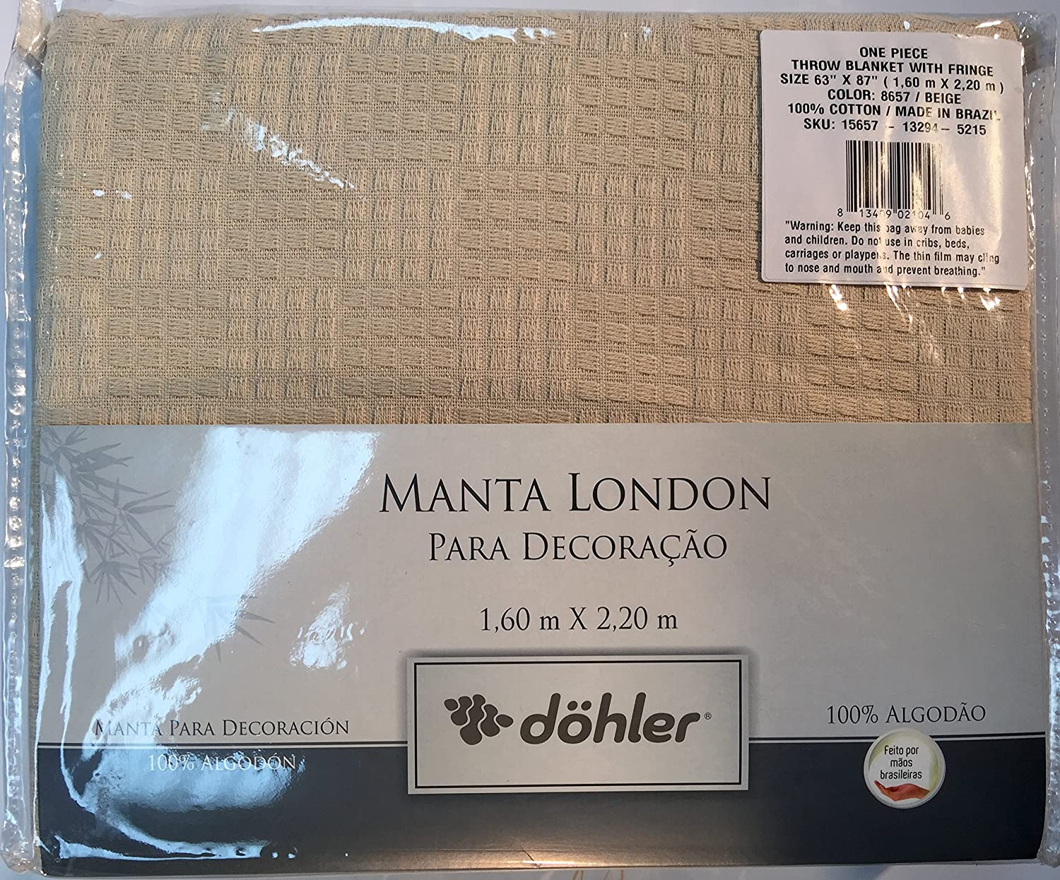 Dohler Beige Brazilian Cotton London Throw Blanket With Fringe 63x87 Inches 8657