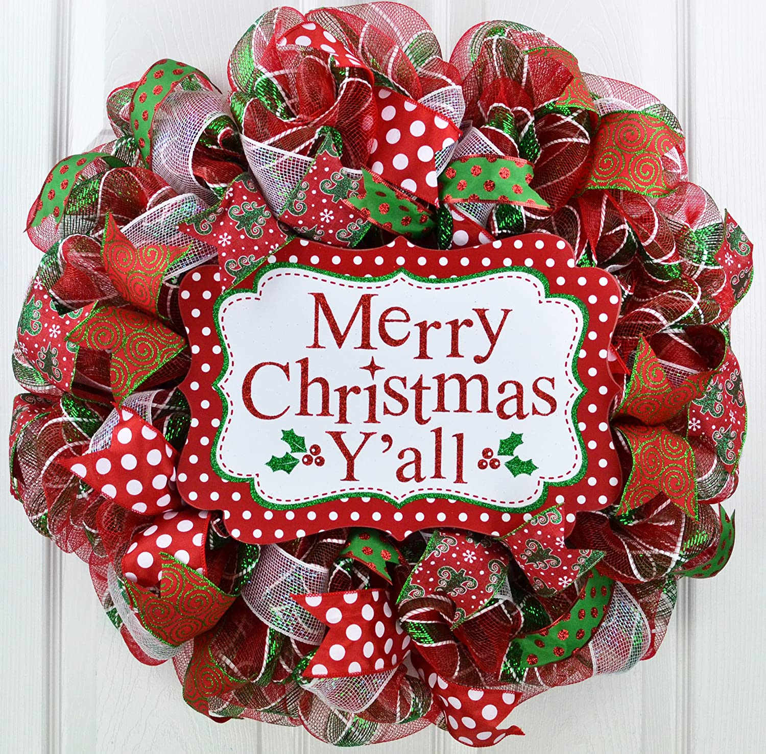 Red And White Christmas Wreath.Merry Christmas Wreath Merry Christmas Y All Mesh Front Door Wreath Red Green White