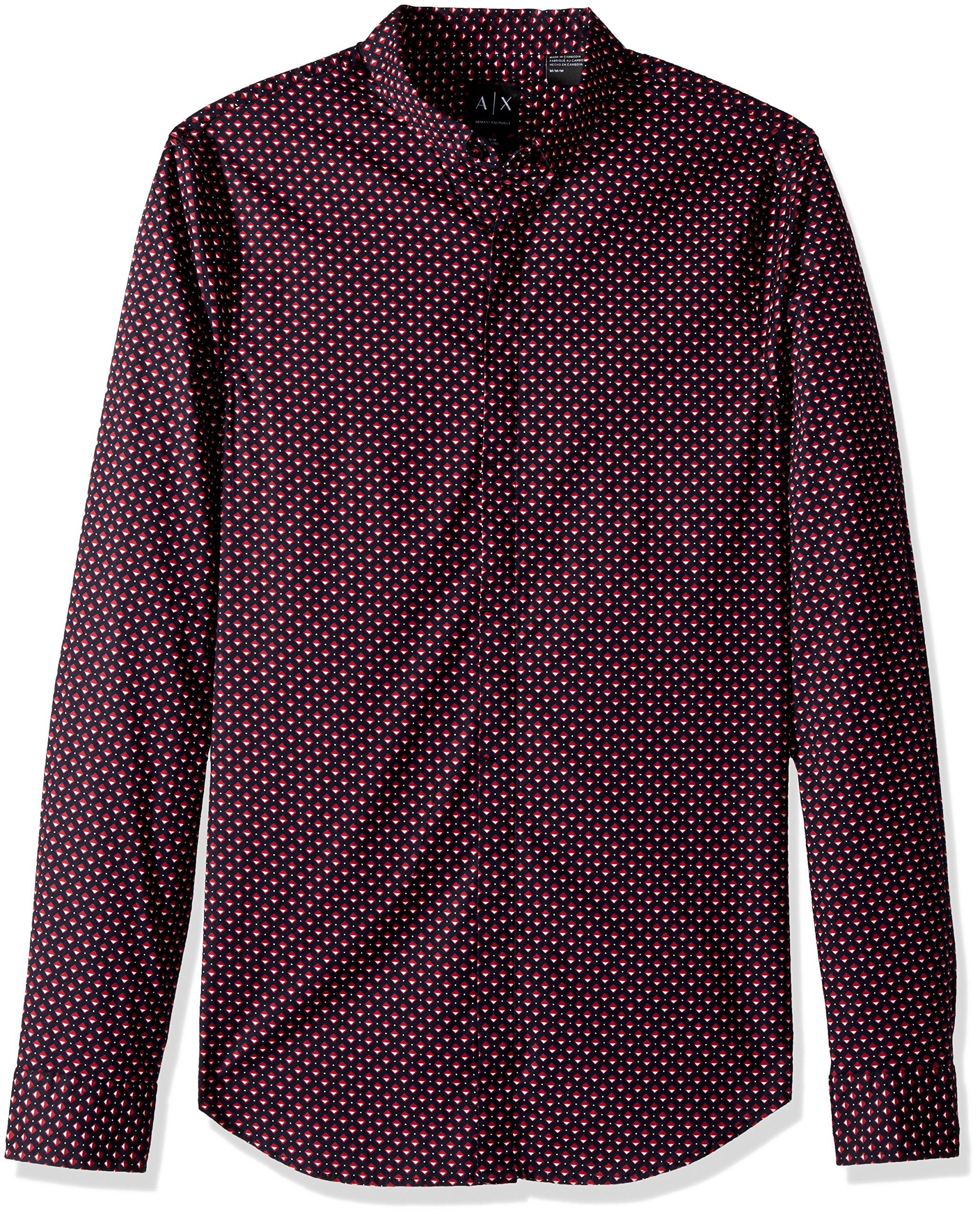A|X Armani Exchange Men's Long Sleeve Printed Aramni Shirt, Navy/Square/Triangle, L
