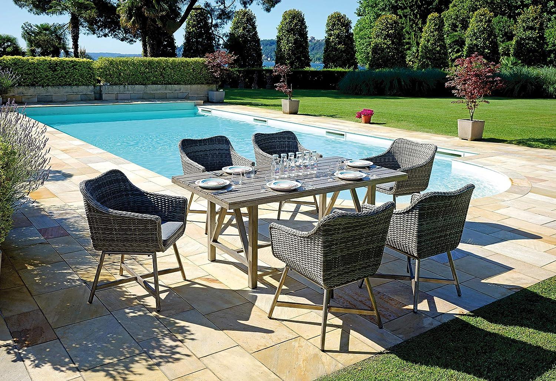Moia S.P.A. Gartengarnitur Twin Wicker mit Tisch und 6 Sesseln DS 04