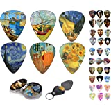 Vincent Van Gogh Guitar Picks Celluloid Medium 12 Pack Complete Set W/ Picks Holder & Tin Box. Starry Night Sun Flowers Limited Time Deal