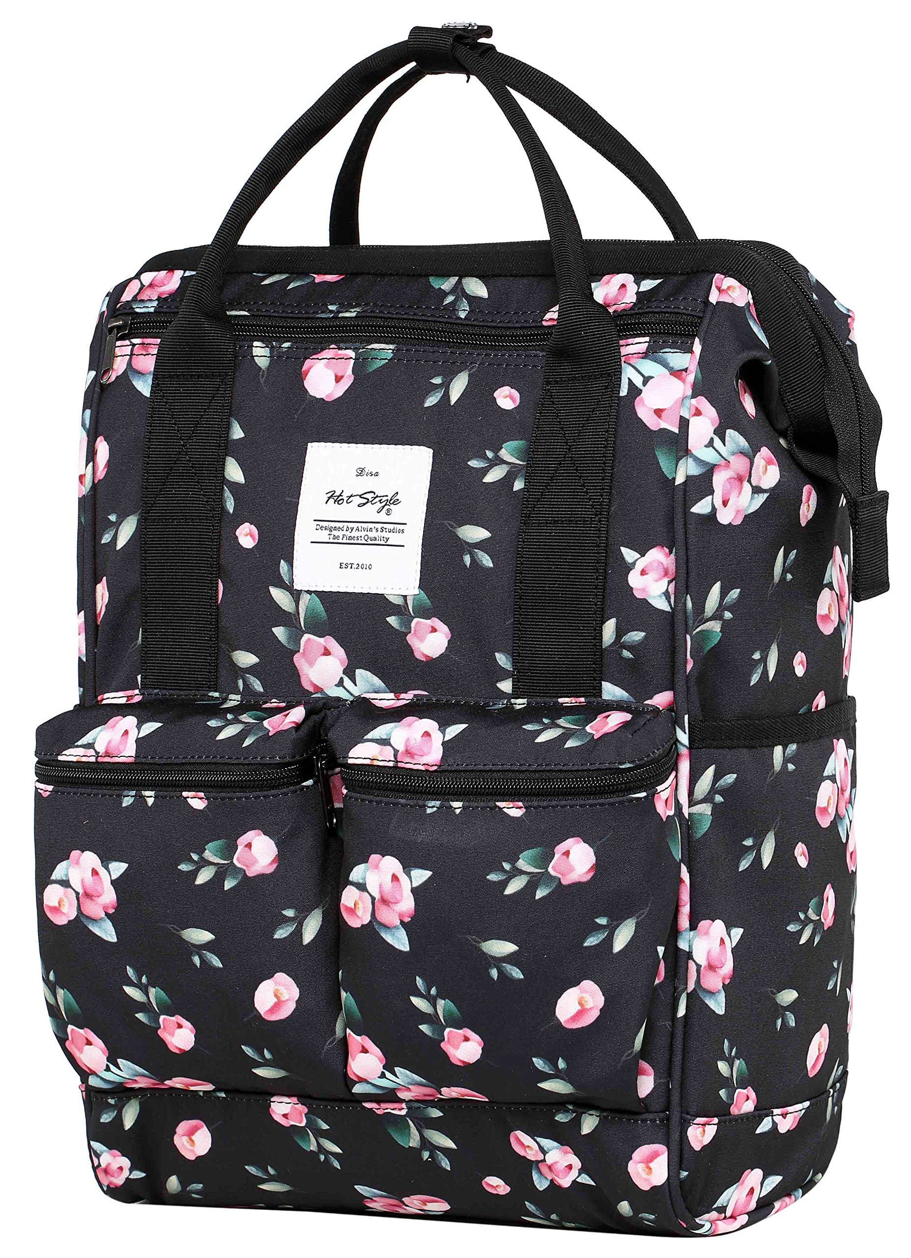 DISA Convertible Backpack Diaper Bag | 17.3''x10.6''x6.7'' | Fits 14-inch Laptop | Rose Black
