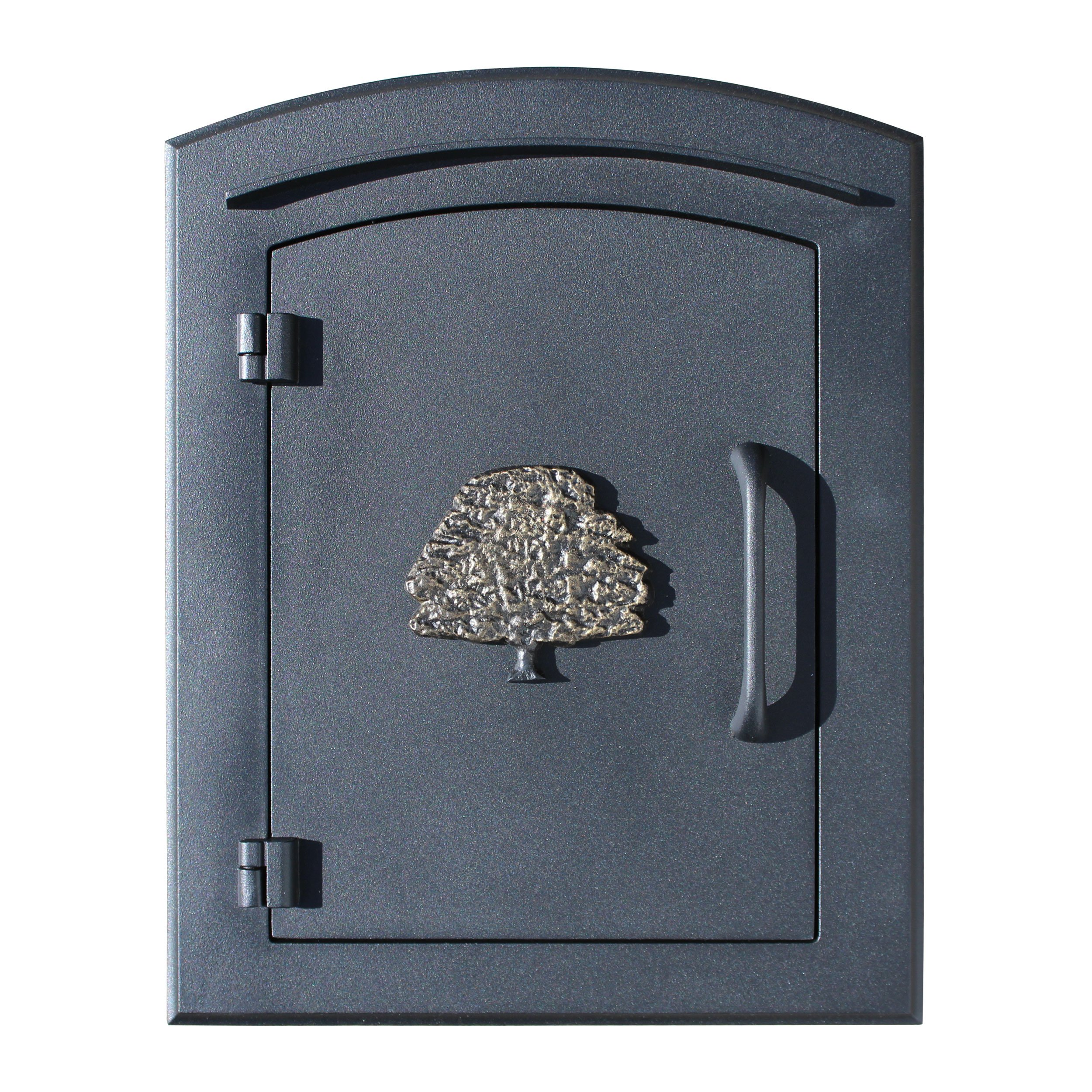 Qualarc MAN-S-1404-BL Manchester Security Drop Chute Mailbox with''Decorative Oak Tree Logo'' Faceplate in Black