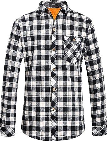 SSLR Camisa de forro polar de franela de manga larga para hombre: Amazon.es: Ropa y accesorios