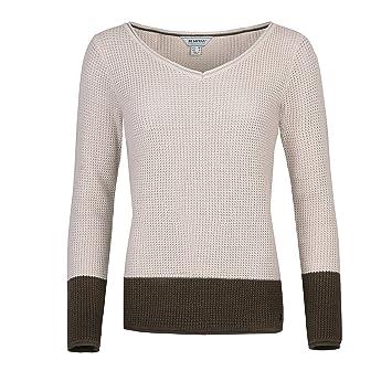 e1db8e4d6f66 Bus Hman Wool Womens Mora Leisure Knitted Jumper Long Sleeve Knitted V Neck  Jumper in Cream
