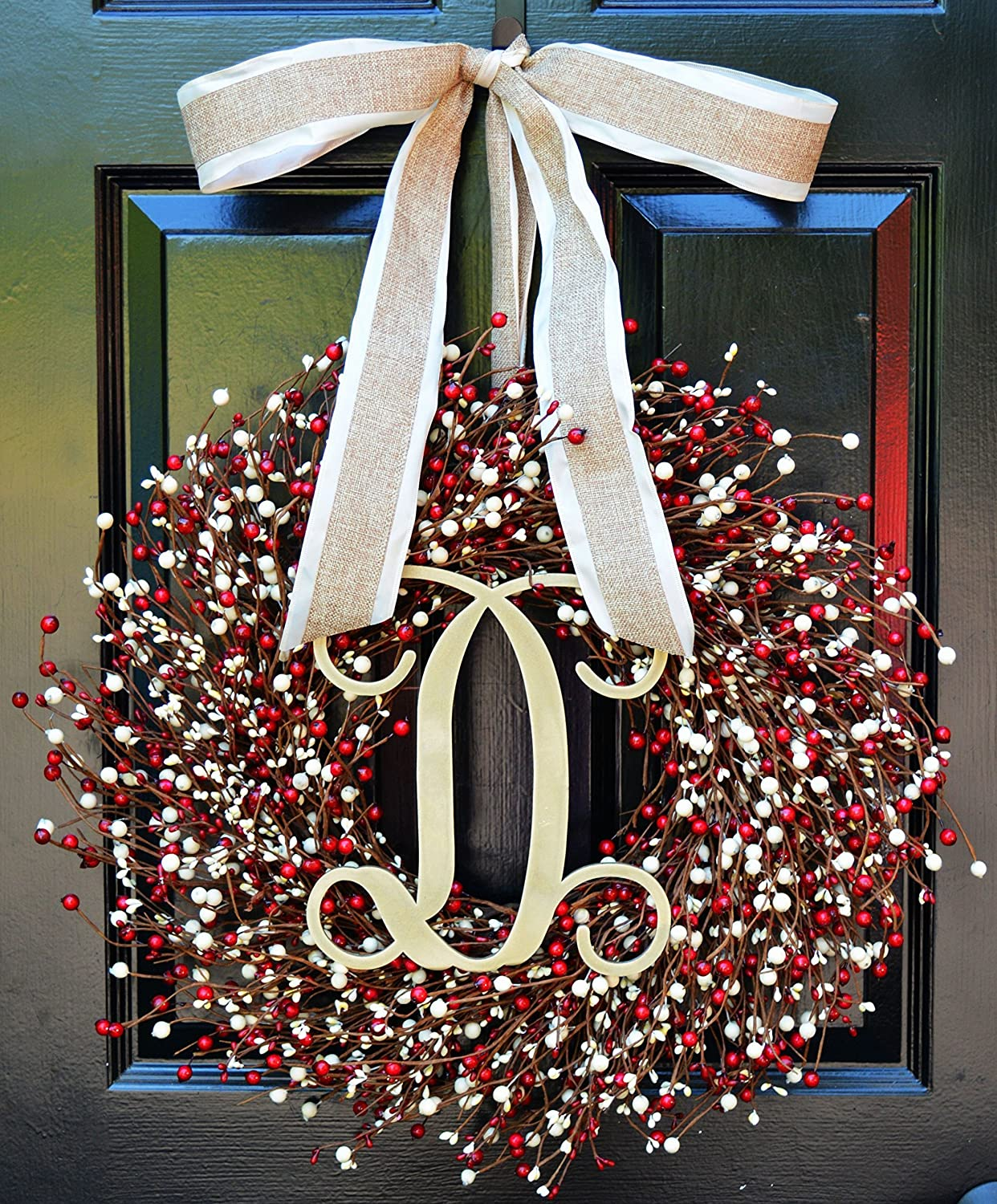 Elegant Holidays Handmade Red & Cream Berry Wreath w/ Monogram & Bow, Decorative Front Door to Welcome Guests-for Outdoor or Indoor Home Décor Great for Christmas, Valentine's Day, Winter 16-24 inches