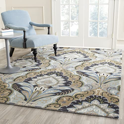 Safavieh Wyndham Collection WYD374A Handmade Blue and Multi Wool Area Rug, 10 feet by 14 feet 10 x 14