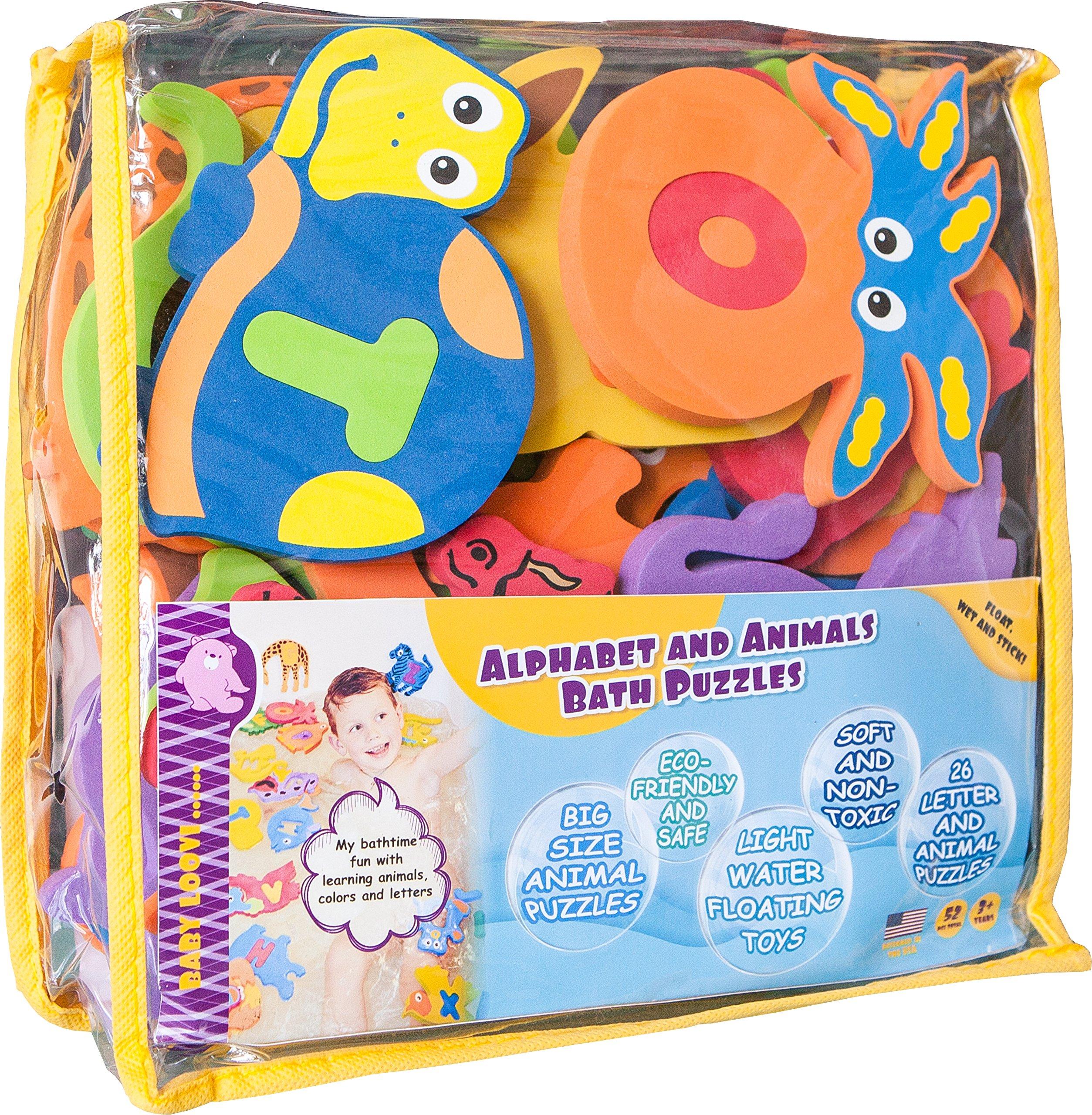 Foam Bath Toys 100% Non-Toxic Preschool Alphabet - Best Baby Bath Toys Toddlers Kids Girls Boys - Premium Educational Floating Bathtub Toys - Biggest Set Letters Animals (26 Puzzles - 52 Items) by BABY LOOVI