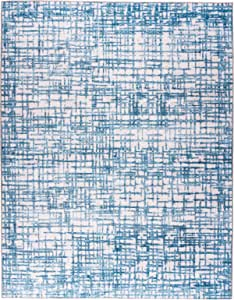 ReaLife Machine Washable Rug - Stain Resistant - Eco-Friendly, Non-Slip, Family & Pet Friendly - Made from Premium Recycled Fibers - Burk Modern Geometric Grid - Light Blue Ivory, 4' x 6'