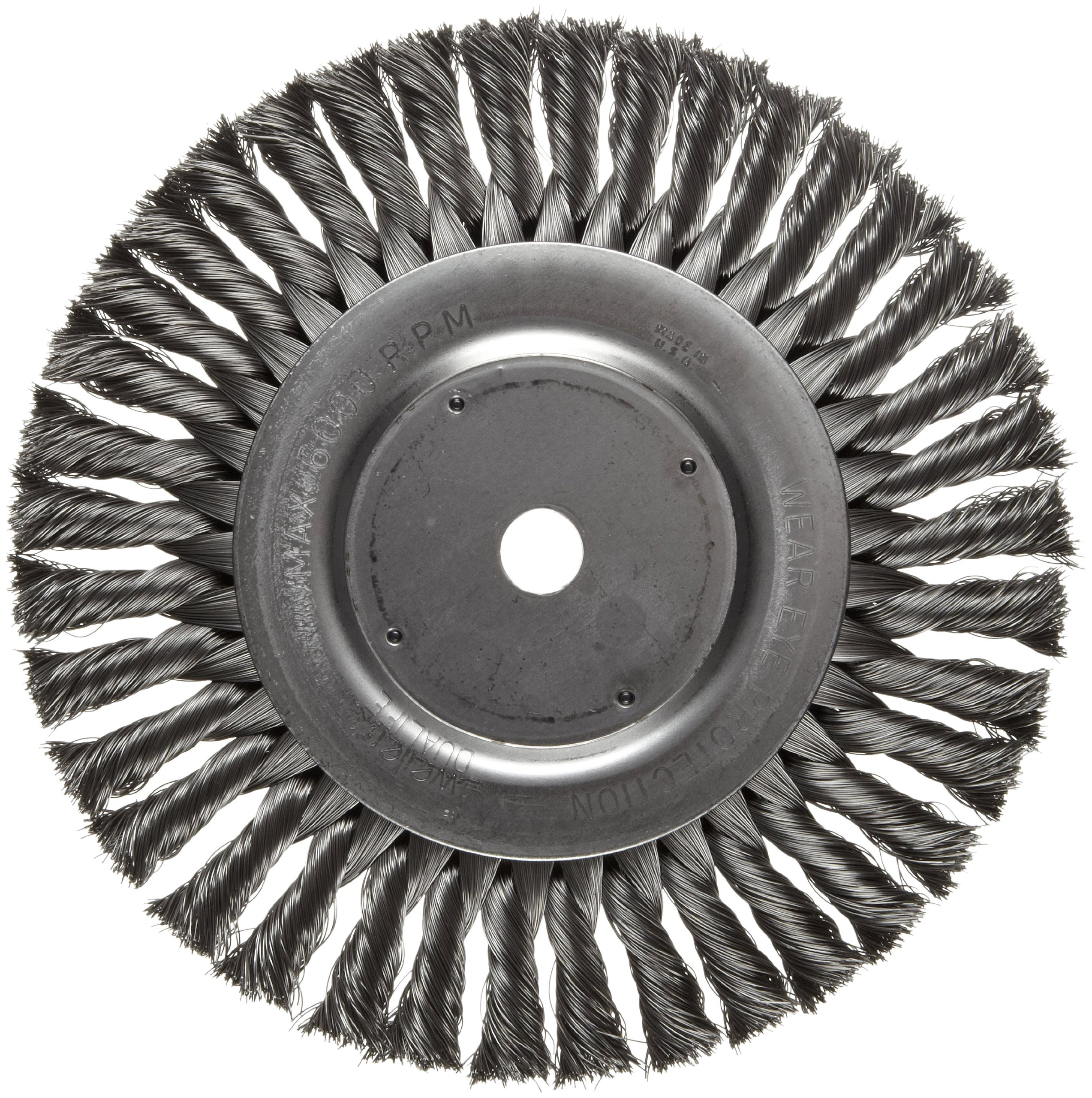 Weiler Dualife Standard Wire Wheel Brush, Round Hole, Steel, Partial Twist Knotted, 8'' Diameter, 0.014'' Wire Diameter, 5/8'' Arbor, 1-5/8'' Bristle Length, 5/8'' Brush Face Width, 6000 rpm by Weiler