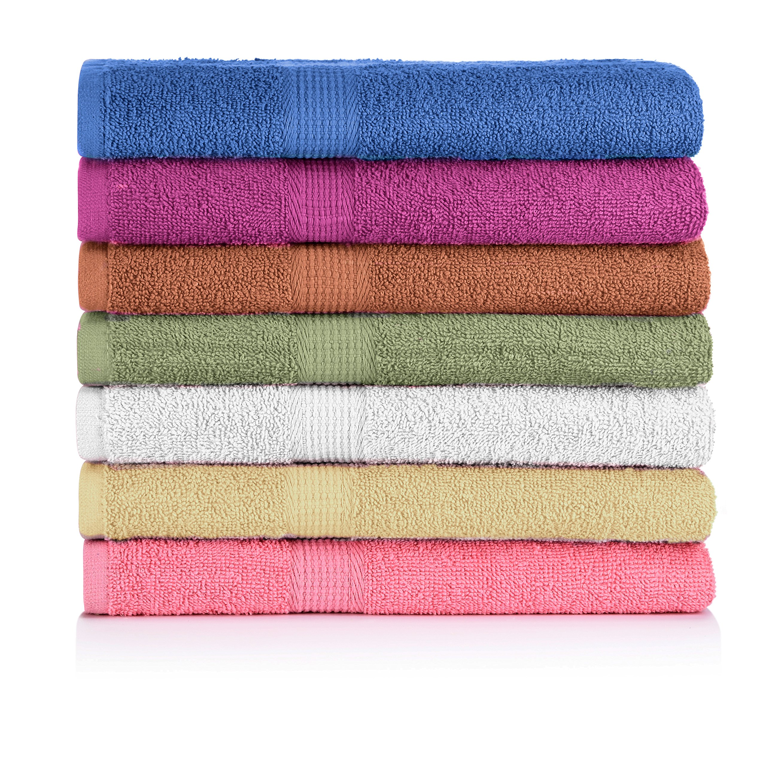 CrystalTowels 7-Pack Bath Towels - Extra-Absorbent - 100% Cotton - 27'' x 52''