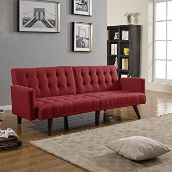 Modern Tufted Linen Split Back Recliner Sleeper Futon Sofa Red : recliner futon - islam-shia.org