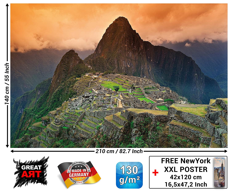 Machu Picchu papel pintado de fotografía - Suramérica ciudad en ruinas Machu Pichu cuadro mural - XXL cartel decoración de la pared by GREAT ART (210 x 140 ...