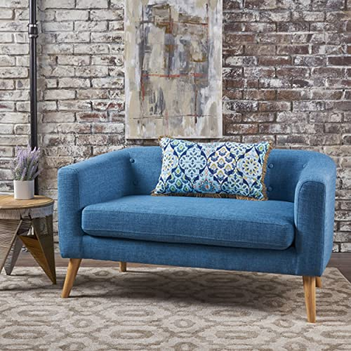 Christopher Knight Home Althea Button Back Mid Century Fabric Modern Loveseat Muted Blue
