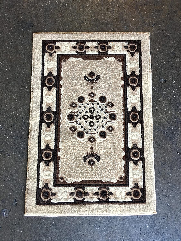 Americana Traditional Persian Door Mat Area Rug Beige Ivory Carpet King Design 121 (2 Feet X 3 Feet)