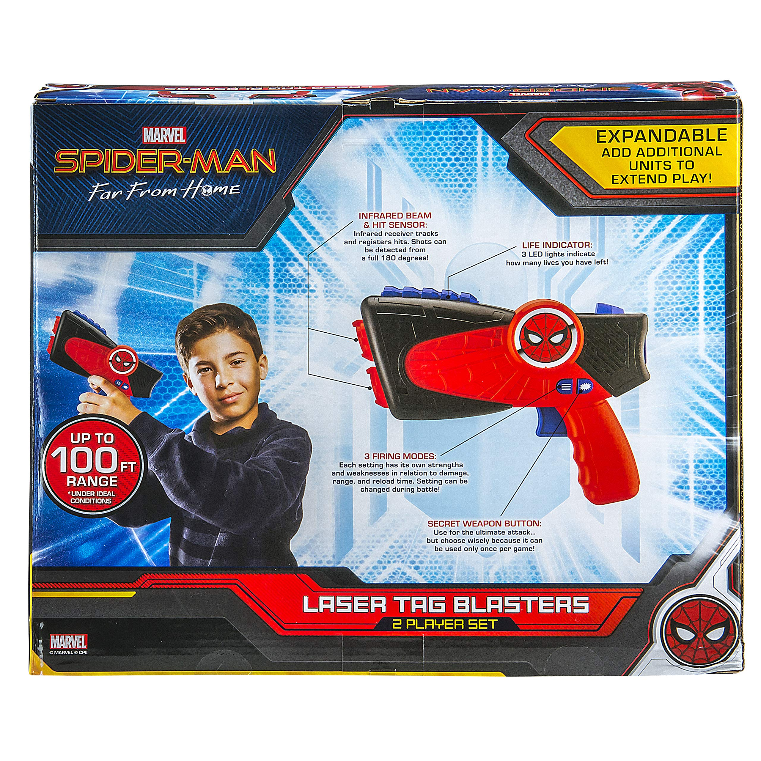 Spiderman Far from Home Laser-Tag for Kids Infared Lazer-Tag Blasters Lights Up & Vibrates When Hit by eKids (Image #6)