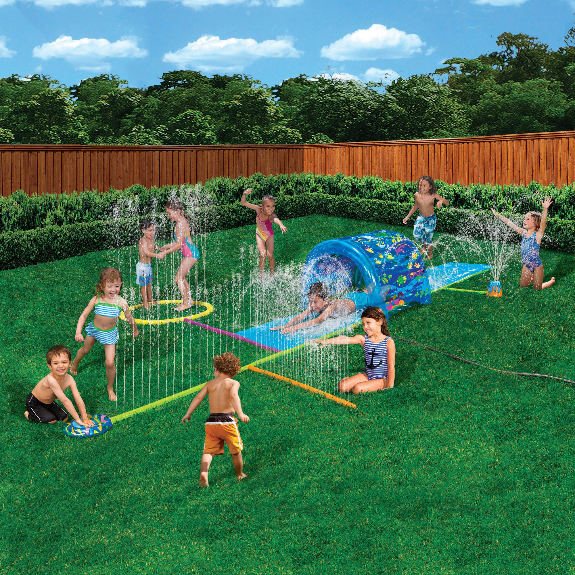 Inflatable Sprinkler Park Kids This Big Portable Kiddie Blow Up Above Ground Long Water slide Is Great For Toddlers, Children, Boys, Girls, Aqua Splash To Have Outdoor Water Fun With All Family. by Banzai
