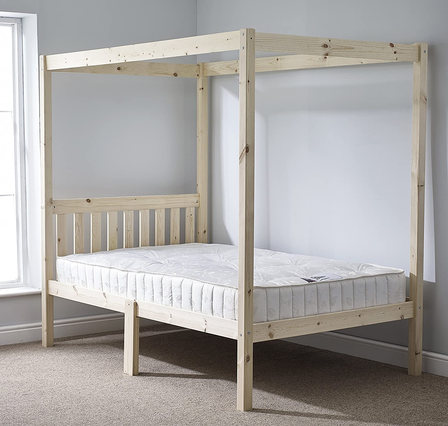 - Four Poster Bed - 4ft 6 Double Solid Natural Pine 4 Poster Bed