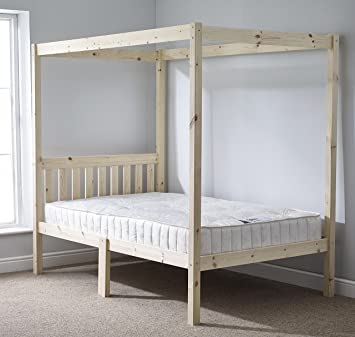 Four Poster Bed - 4ft 6 double solid natural pine 4 poster bed frame - Extra