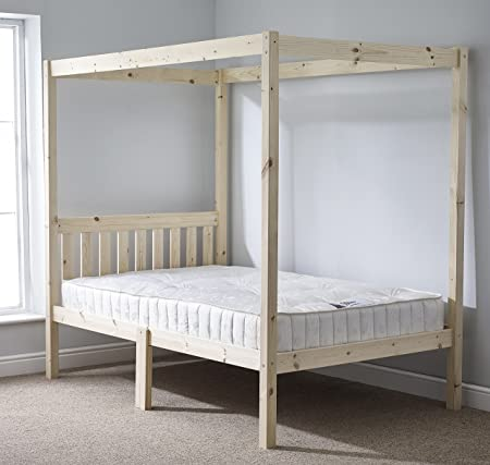 Four Poster Bed - 5ft kingsize solid natural pine 4 poster bed frame ...