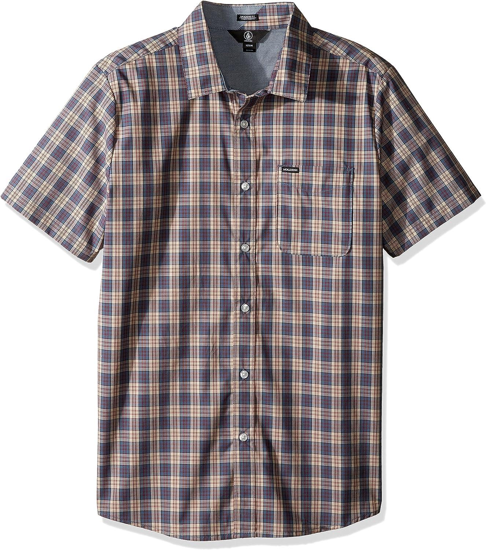 Volcom Amerson Hemd Kurzarm Halbarm Check Shirt Herren Kariert Beige Camisa Hombre