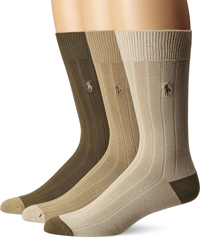 Multi-Color 10-13 Polo Ralph Lauren Men/'s Super Soft Flat Knit 3 pack Socks