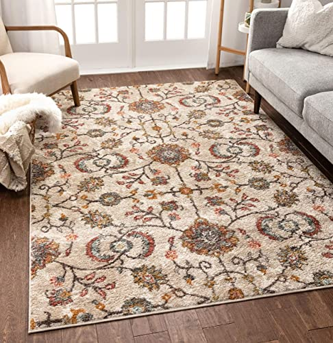 Well Woven Ensley Boho Persian Vintage Beige Blush Pink Multicolor Area Rug 8×11 7'10″ x 9'10″