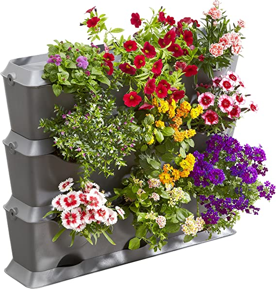 Gardena NatureUp Set Básico 9 Plantas para Plantar un jardín Balcones, terrazas y Patios Cont: 3 jardineras Verticales, 3 Cubiertas, 1 Placa de Base, 12 Clips Kit, Gris, 30.1x21.7x66.3 cm: Amazon.es: Jardín