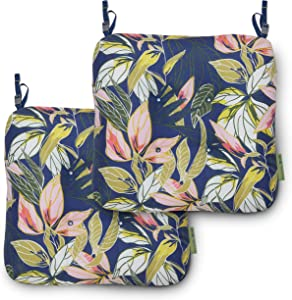 Vera Bradley by Classic Accessories Water-Resistant Patio Chair Cushions, 19 x 19 x 5 Inch, 2 Pack, Rain Forest Leaves Blue