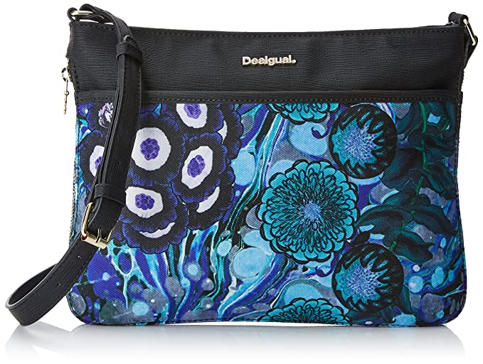 Bols_denim Flowers Varsovia Womens Cross-Body Bag Blue (Navy) 21x6.8x24 cm (B x H x T) Desigual 3Kme6dJ3
