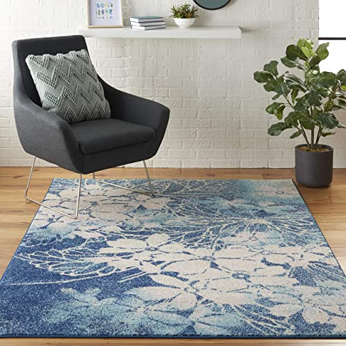 Nourison TRA08 Tranquil Floral Contemporary Navy/Pink Area Rug 6' X 9'