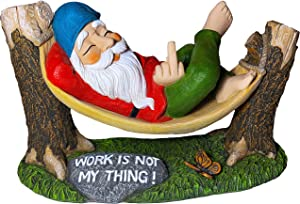 Garden Gnome in Hammock - Finger Gnome Statue - 9.65 Inch Width Lawn Figurine with Sign - Work is Not My Thing