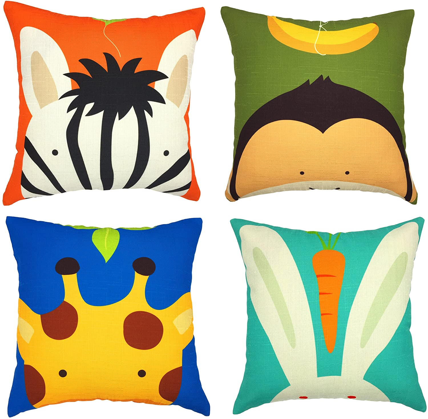 YOUR SMILE Children Series Cotton Linen Cute Animal Decorative Throw Pillow Case Cushion Cover Pillowcase for Sofa 18 x 18 Inch, Set of 4