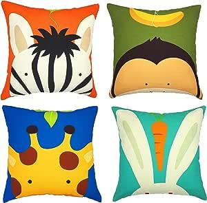 Cartoon Panda Elephant Lovely Girl Pillowcase Peach skin Decorative Pillow Cover