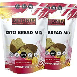 Ketonia® Keto Bread Mix - 0 Net Carbs - 2 Loaves (11.5 oz each) - Low Carb - Perfect Baking Made Fast & Easy - Makes Keto Food, Snacks, & Desserts - Atkins & Diabetic friendly