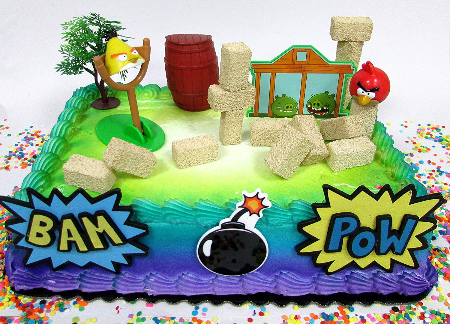 Cool Amazon Com Cake Toppers Angry Birds Birthday Set Featuring Angry Funny Birthday Cards Online Fluifree Goldxyz