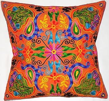 Blumen Blätter Braun Rangoli Mandala Multi Farbe Große Kissenbezug 61 X 61  Cm 60 X 60