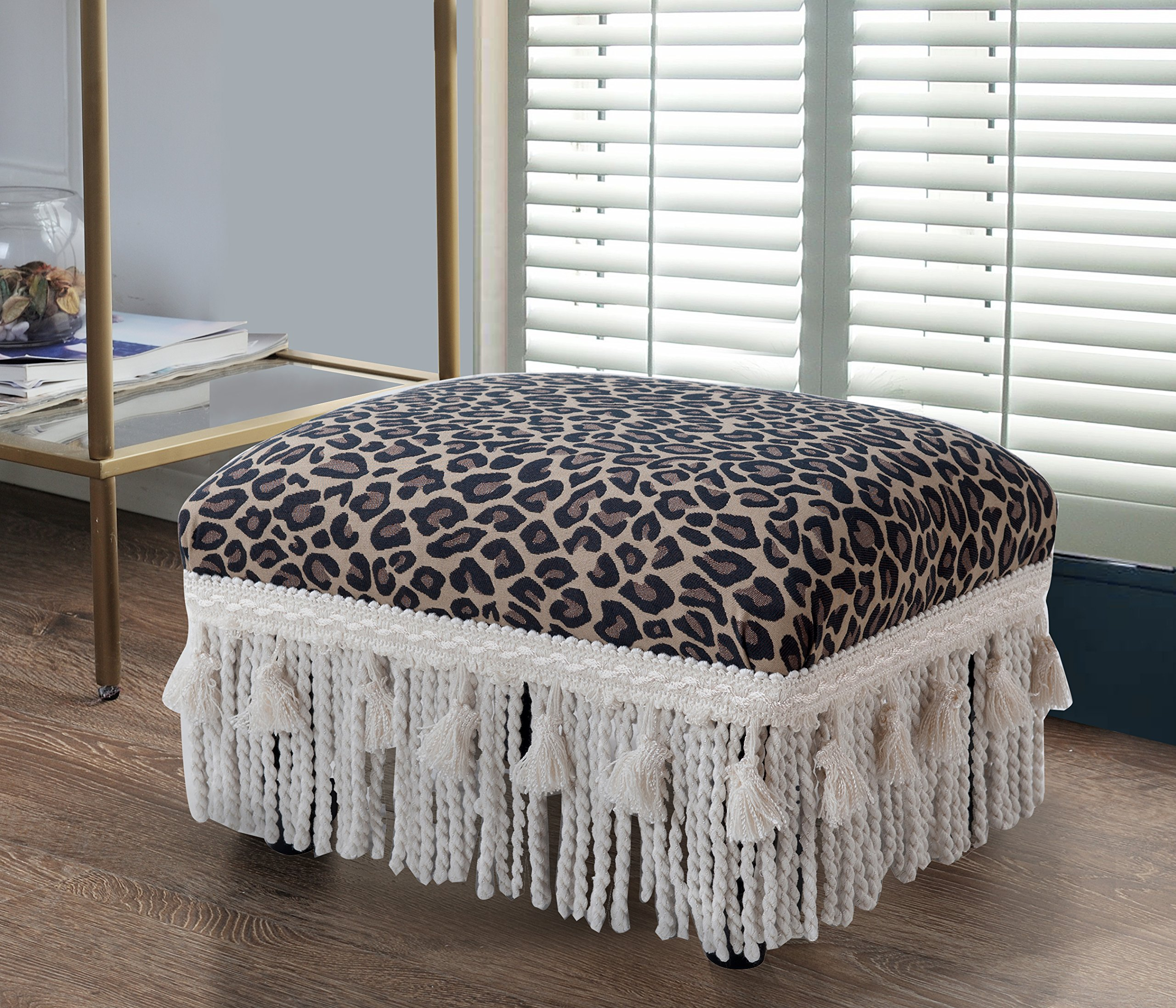 Jennifer Taylor Home 2318-655 Decorative Fiona Collection Traditional Upholstered Rayon Blend Footstool with Fringe and Trim Tassels, Multi-Colored, Brown/Beige by Jennifer Taylor Home (Image #2)