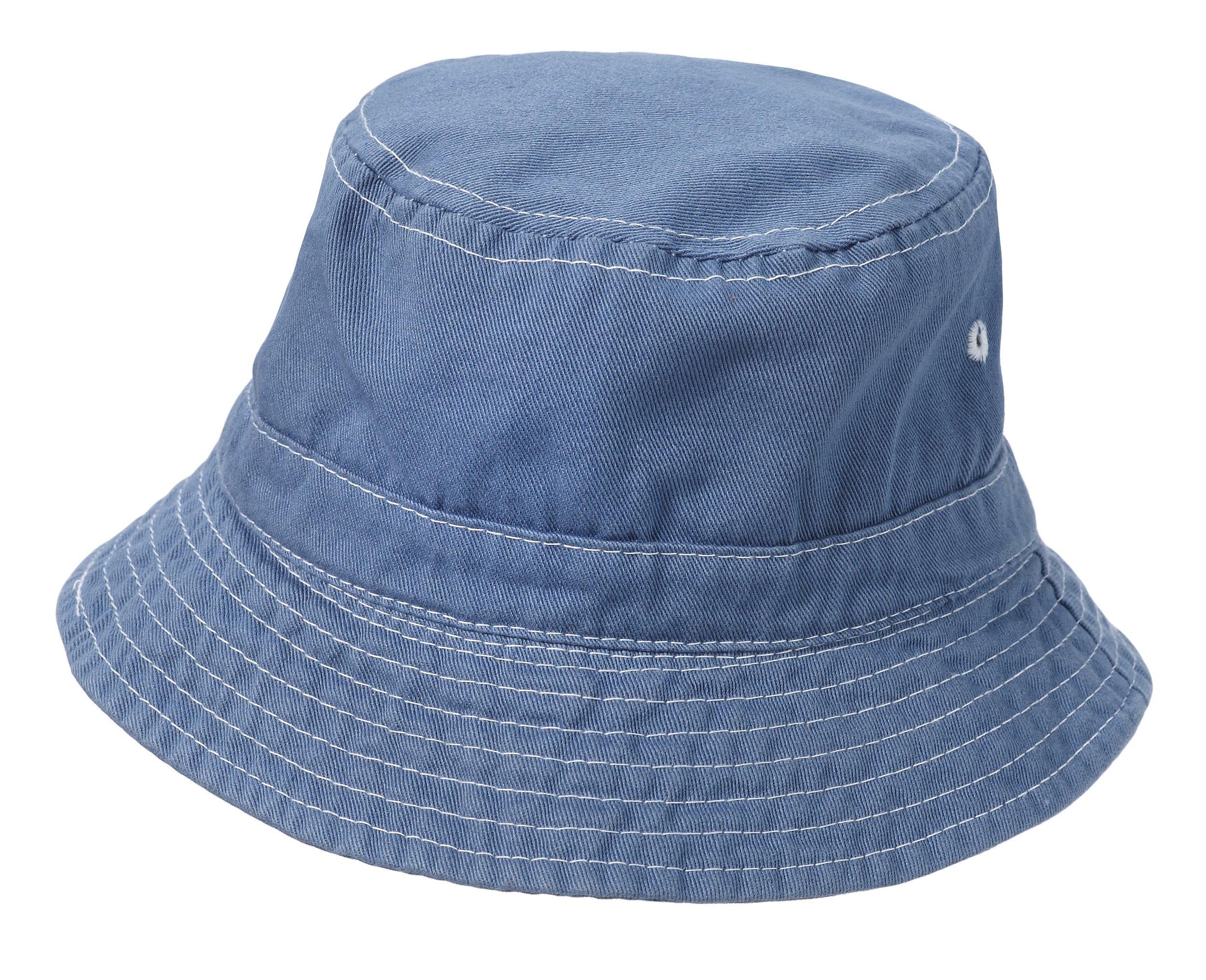 City Threads Little Boys' and Girls' Solid Wharf Hat Bucket Hat For Sun Protection SPF Beach Summer - Denim Blue - XL(4-6)