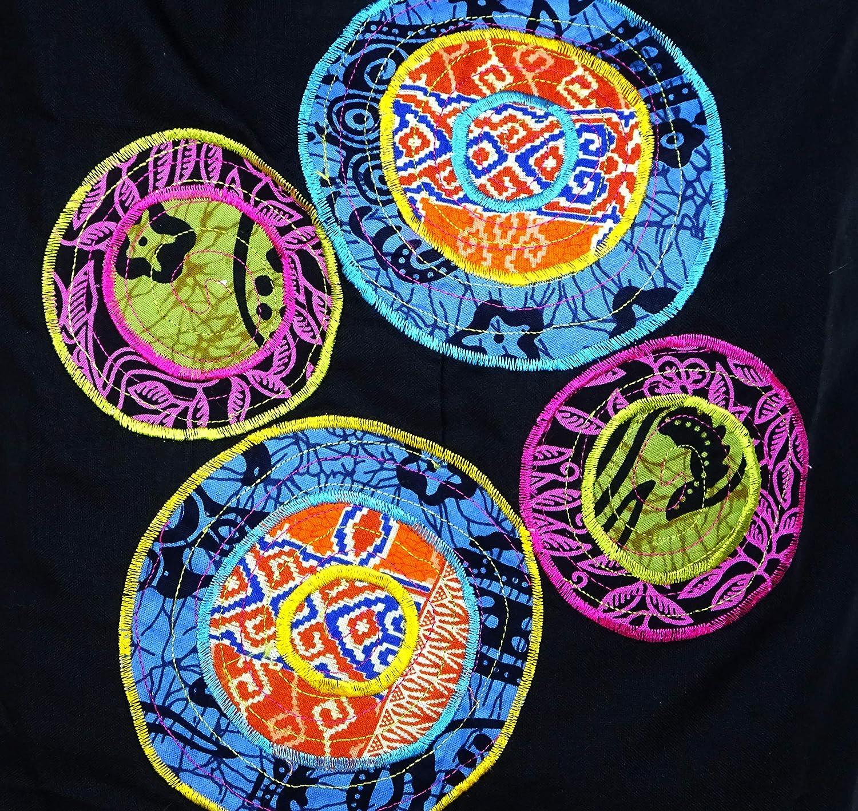 Sac Bandouli/ère Ethnique Sac /à Main Coton Besace Ethnik Bag Spirale Boh/ème Homme Femme Noir