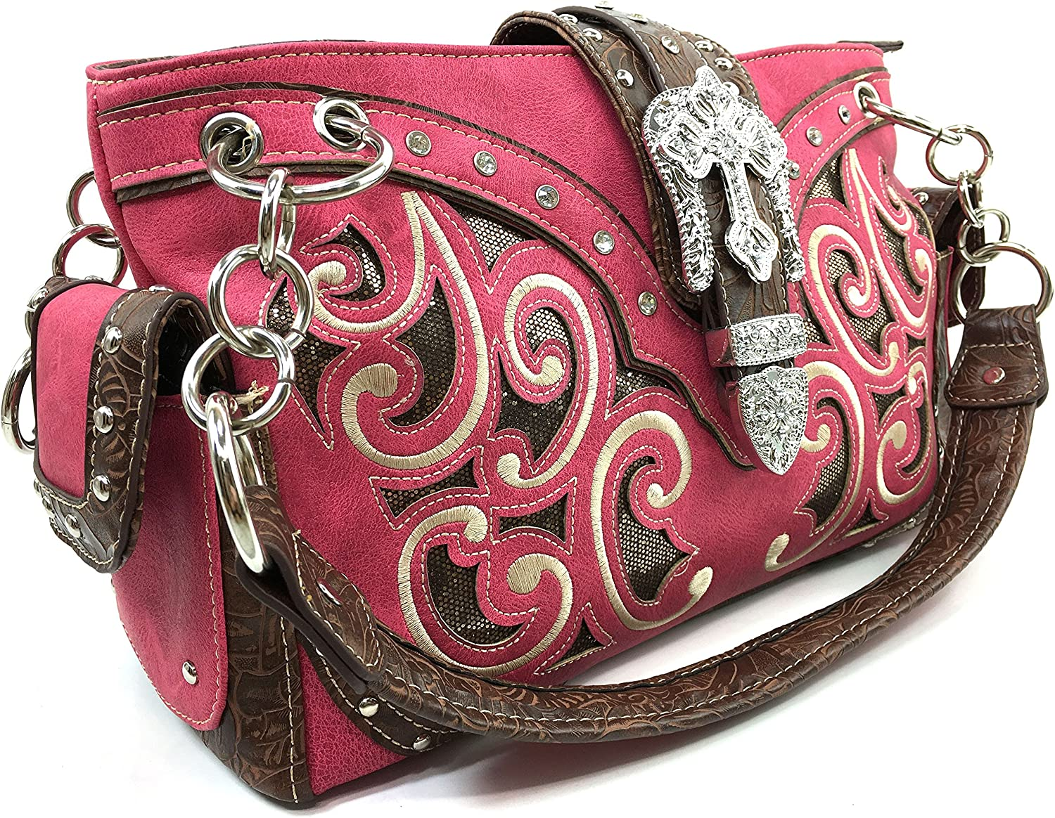 Justin West Gleaming Western Floral Embroidery Rhinestone Buckle ...